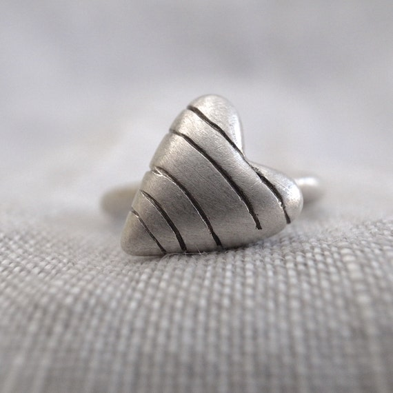 heart stack ring - sterling silver - striped