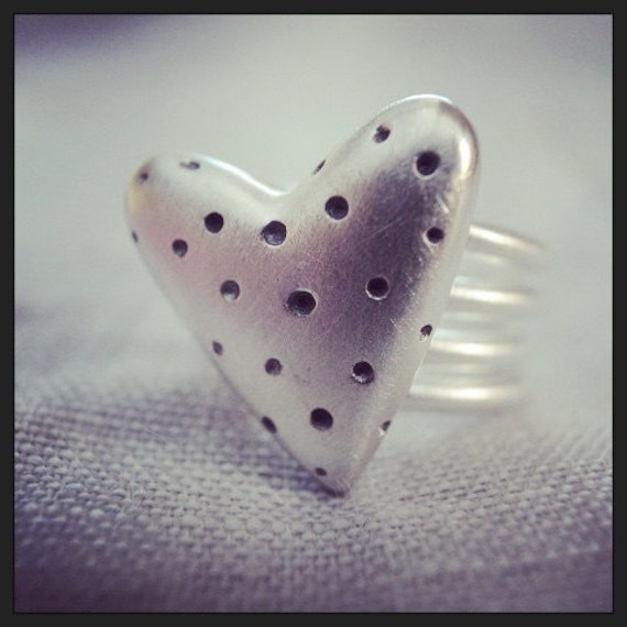 large polka dot ring - coiled band