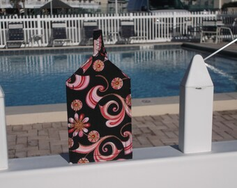 Pink Swirls and Flowers Luggage Tag