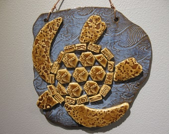 Mosaic Sea Turtle Plaque (Palm Trees)