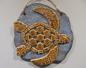 Mosaic Sea Turtle Plaque (Sun)
