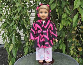 Hooded Pink Zebra robe fits dolls like American Girl