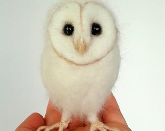 Ooak Artist Needle Felted Barn Owl Hatchling Chick