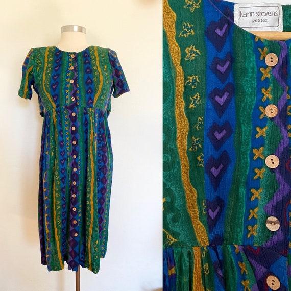 1990's Baby Doll Dress - Vintage Rayon Midi Dress
