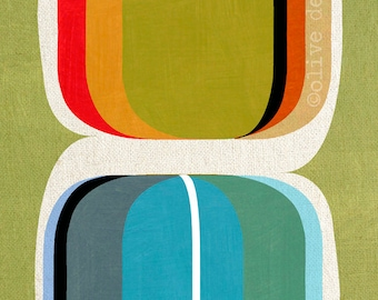 Colour set - modern abstract, mid century design, mixed media fine art pigment print, on quality heavy weight edition paper, by Olive Dear