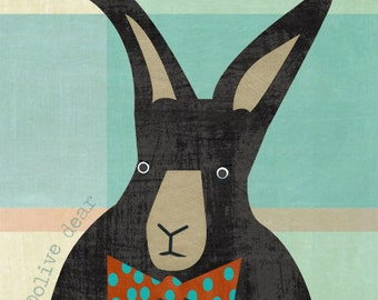 Black rabbit - mixed media painting fine art pigment print, mid century design, quality heavy weight Edition paper, Olive Dear