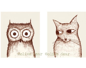 owl and pussycat double portrait - original hand drawn fine art pigment print, on quality heavy weight edition paper, by Olive Dear