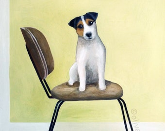 Mid century chair with Jack Russell- fine art pigment print of an original painting by Olive Dear, on quality heavy weight edition paper