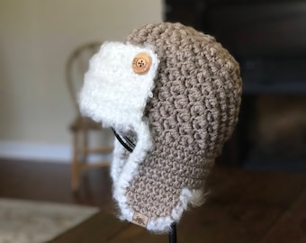 83ebe206835 CROCHET AVIATOR PATTERN - Crochet Cumberland Aviator Hat Pattern 6 sizes  included - Welcome to sell all finished items.