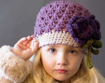 CROCHET PATTERN - Chloe Crochet Beanie with Rose - Crochet Hat Pattern Women - Crochet Rose Pattern -