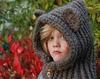 CROCHET COWL PATTERN - Hooded Bear Cowl Crochet - Super Bulky Hooded Cowl Crochet Pattern Includes Multiple Sizes -
