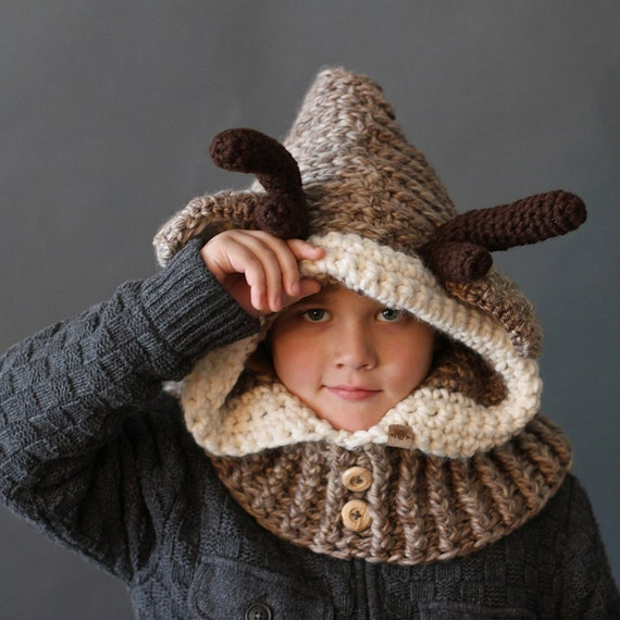 Crochet Pattern Hooded Reindeer Cowl Crochet Hood Pattern Etsy