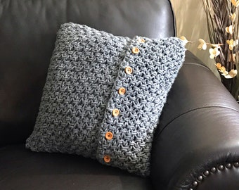 Crochet Cushion Cover Pattern - Button Up Crochet Cushion Cover Pattern
