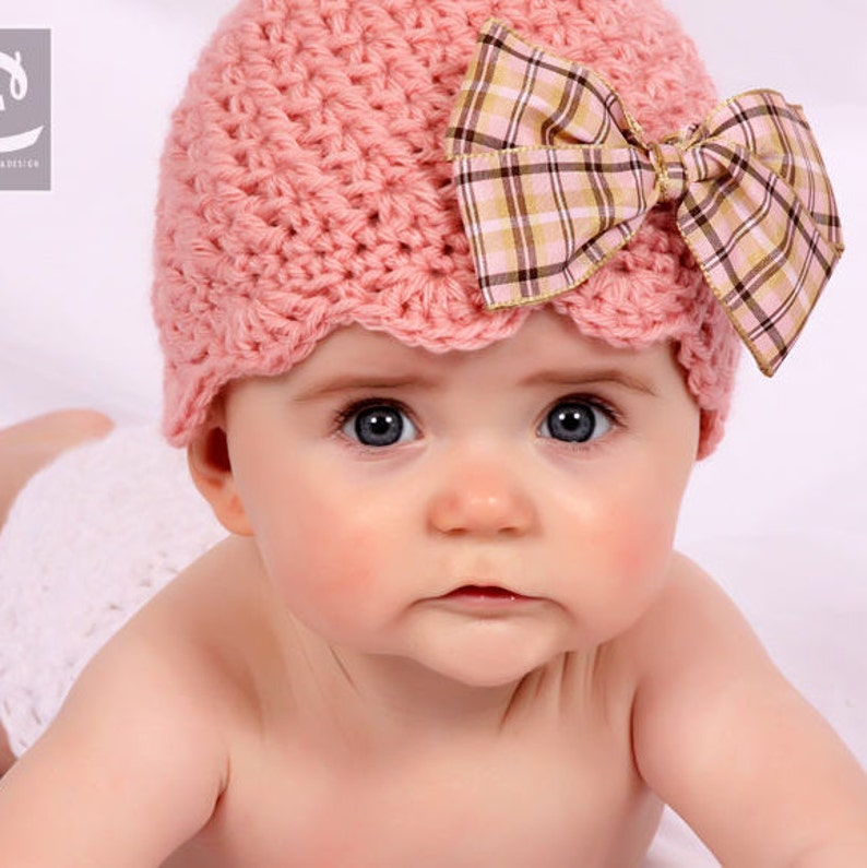 Crochet PATTERN Sweet Scalloped Beanie Includes Sizes Newborn image 0