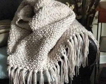 Crochet Blanket Pattern - Crochet Throw Pattern - Fisherman Blanket with Video Assistance