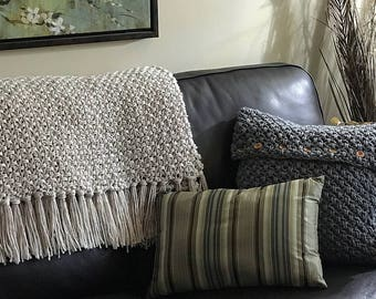 CROCHET PATTERN Blanket and Cushion Cover -  Fishermans Crochet Throw Pattern with Video Assistance