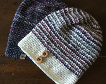 CROCHET PATTERN -  Crochet Slouchy Hat Pattern - Beginner Crochet Pattern - Easy Crochet Pattern - Newborn to Adult - Instant PDF Download