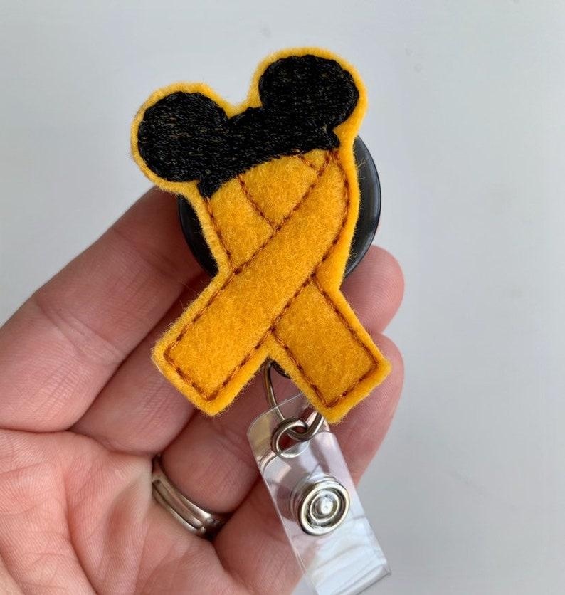 badge reel pediatric oncology badge Nurse badge reel retractable badge Oncology nurse badge nursing badge reel gold ribbon