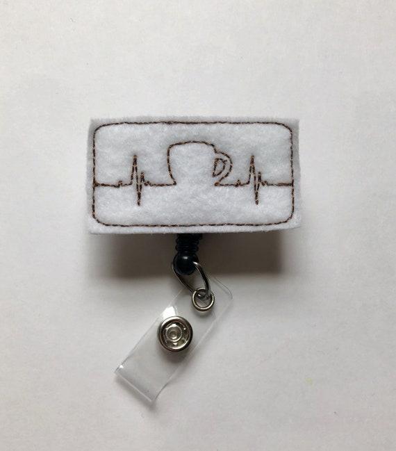 RN Nurse Badge Badge Reels Badge Clip Nurse Badge Reels Name Badge Holder Smiley Coffee Latte Mint Pediatric Retractable ID Badge Holder