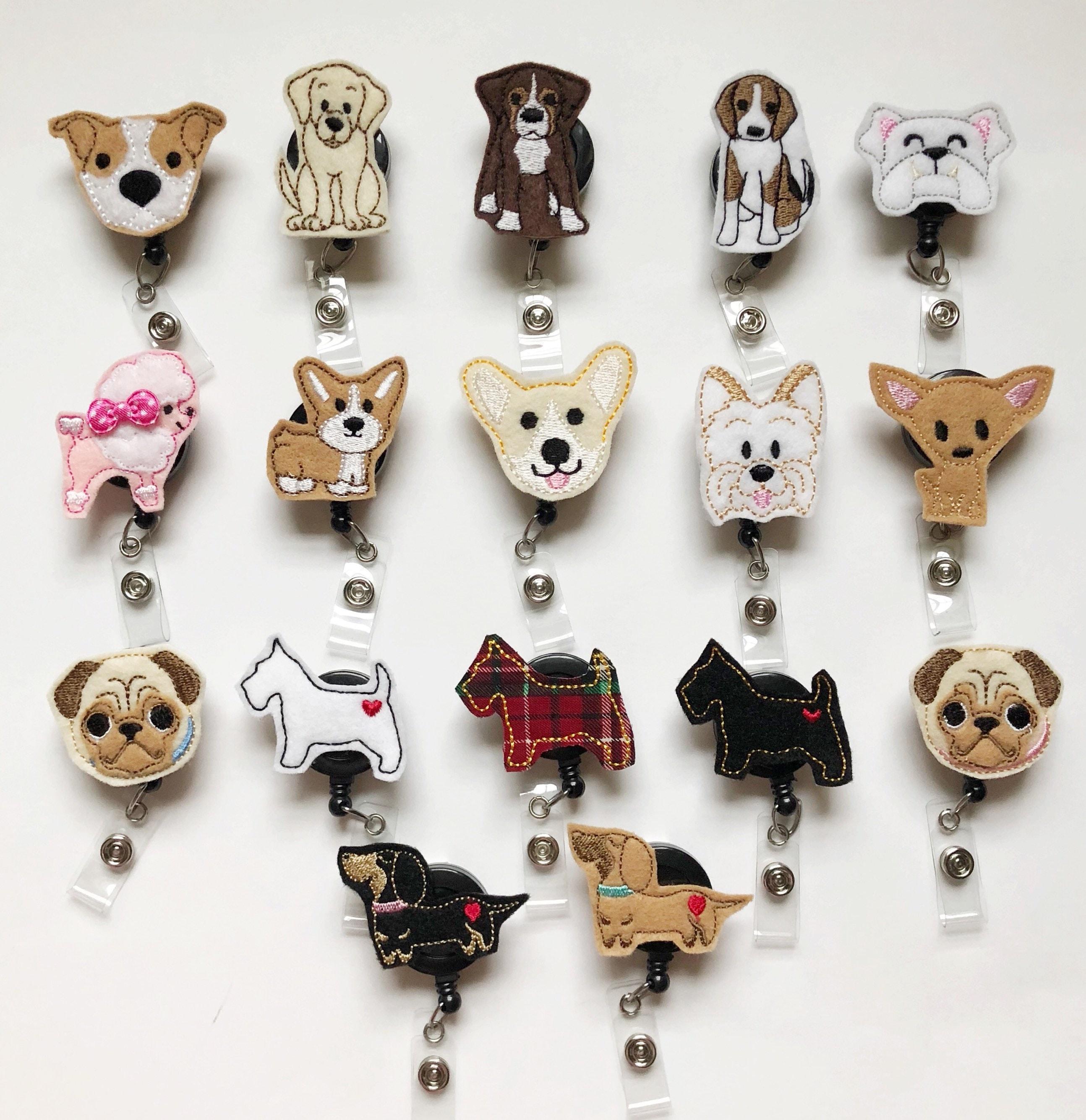 Dog badge reel, badge reel, nurse badge reel, nursing badge reel, cute  badge reel, retractable badge, vet Gift, Vet Tech, name badge
