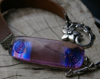 fused purple dichroic glass leather bracelet