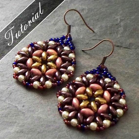 Bead Pattern Bead Weaving Tutorial Lotus Super Duo Earrings Etsy