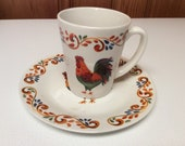 Gibson Home Rooster Chicken Poultry Farm Life Mug Cup Small Plate Saucer
