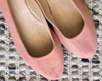 VIVIAN- Ballet Flats - Suede Shoes - 40- Blush suede