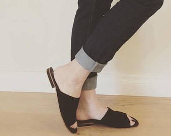 SOKO slides. Black suede women's shoes/sandals. Available to order in different colours and sizes