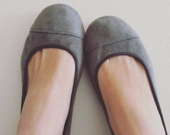 LUNAR- Ballet Flats-Suede Shoe- Charcoal Suede. Taking CUSTOM ORDERS Now!