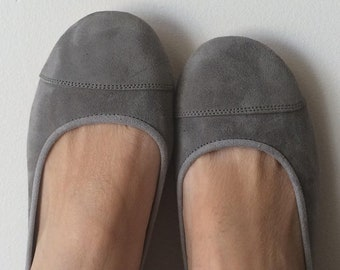LUNAR- Ballet Flats-Suede Shoe- Mid Grey Suede- 38, available in different sizes see below