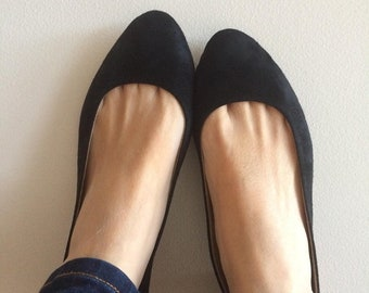 VIVIAN- Ballet Flats - Suede Shoes - 39- Black Suede- Available in different sizes see below