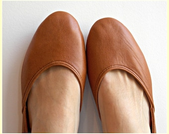 52317d208eb Tobacco Brown Leather Ballet Flats  Women s Leather Shoes  flat shoes   pointy toe shoes. Available in different colours   sizes