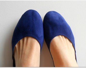 MAYA - Ballet Flats - Suede Shoes - Cobalt Blue size 39, available in different sizes see below
