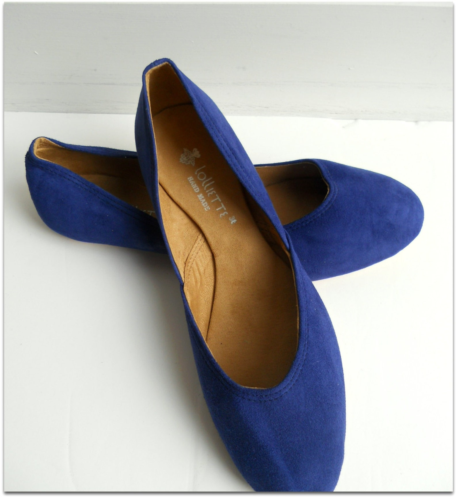 maya. cobalt blue suede/ ballet flats/ women's suede shoes/ wedding flats. available in different sizes see below