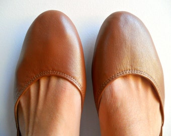 MAYA - Ballet Flats - Leather Shoes - 39- Bronze. Available in different colours & sizes