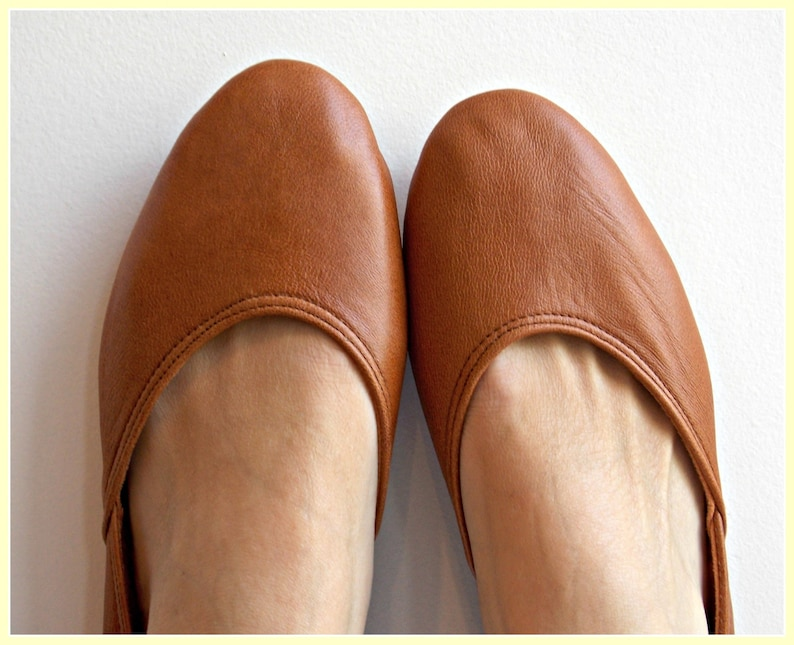 c19f179f627161 MAYA. Tobacco Brown Leather Ballet Flats/ Women's Leather | Etsy