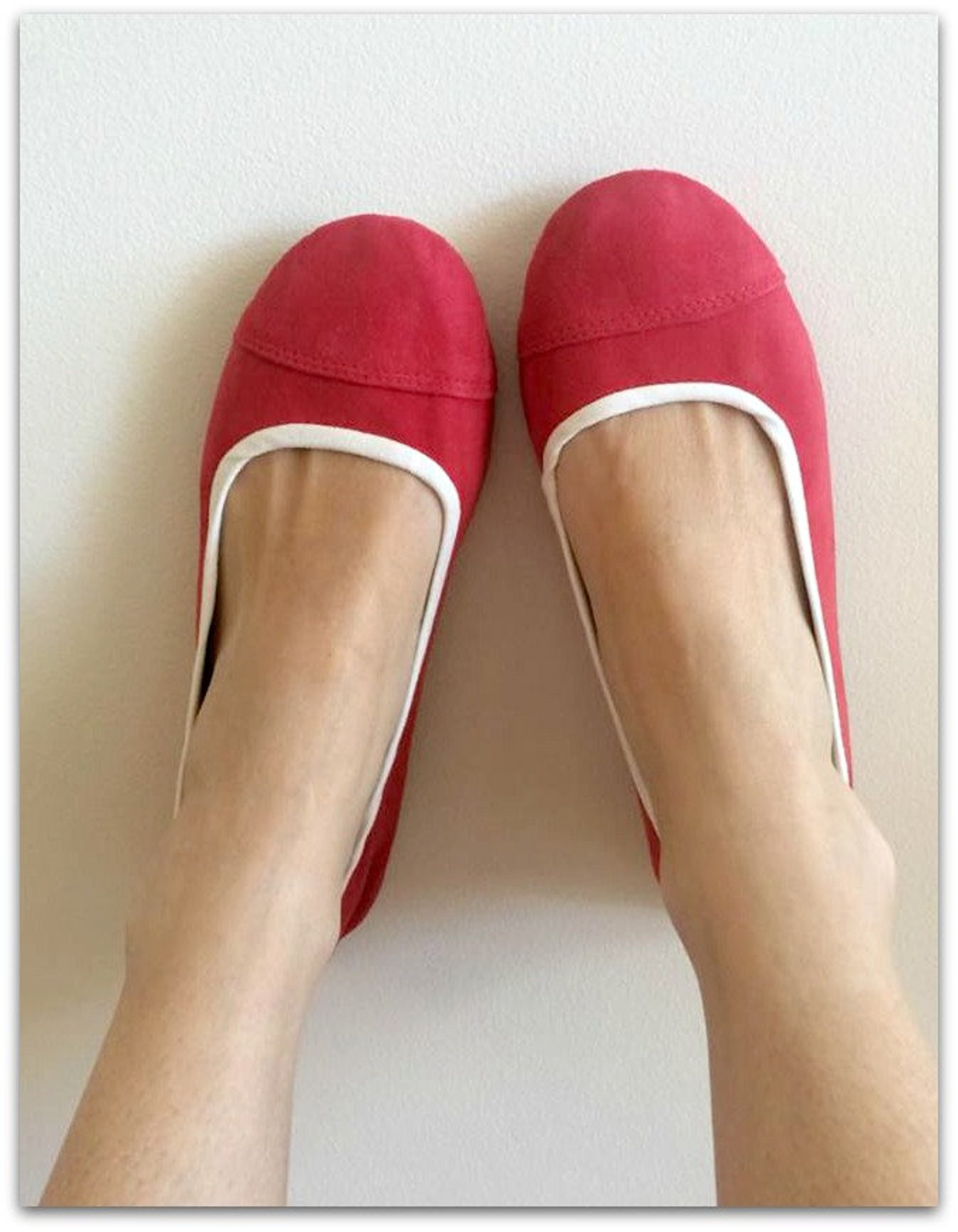 limited edition. lunar.- watermelon suede flats/ suede flat shoes/ women's ballet flats. available to custom order only