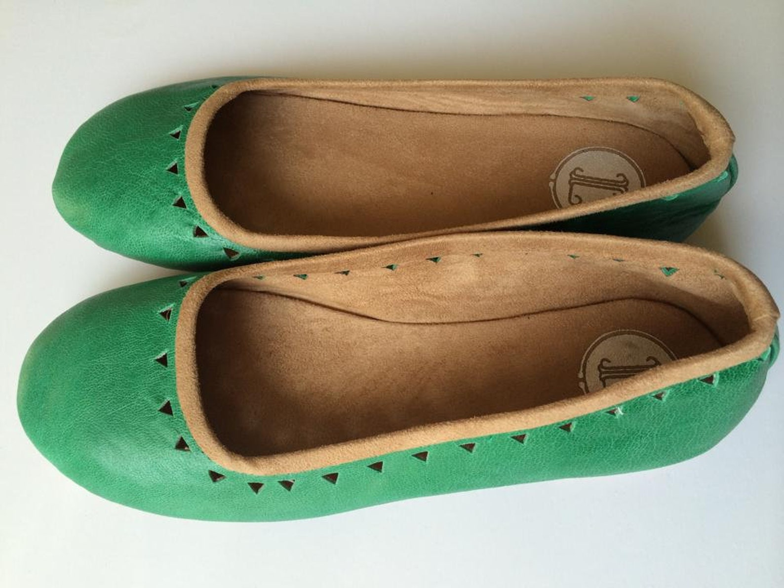 aztec. sea-green leather ballet flats/ women's leather shoe/ cut-out flats-available to custom order only early 2019