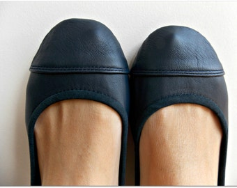 LUNAR- Ballet Flats - Leather Shoes -38-Navy Blue. Available in different colours & sizes