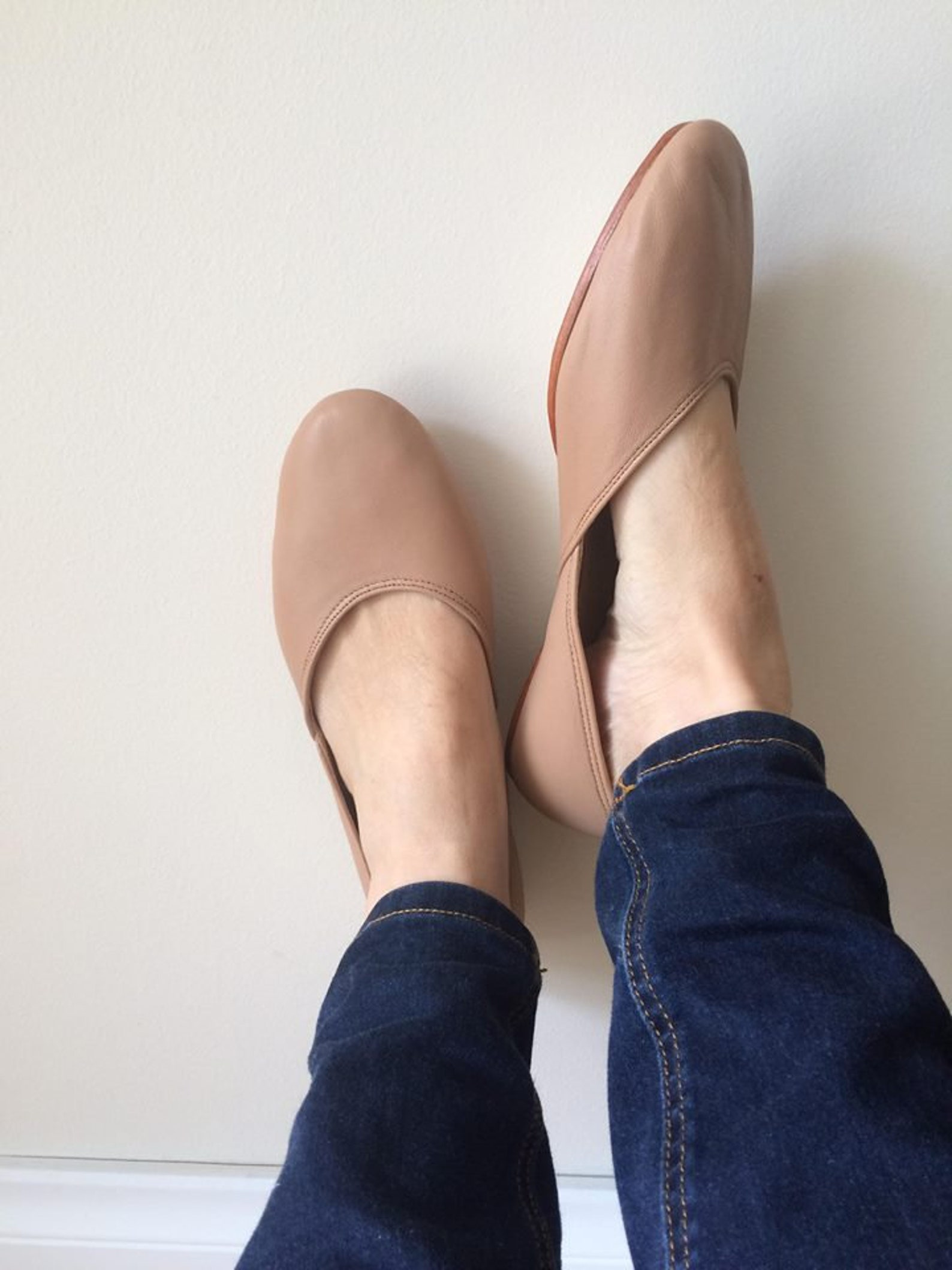 maya. latte leather ballet flats/ women's leather shoes/ latte leather. available in different sizes.