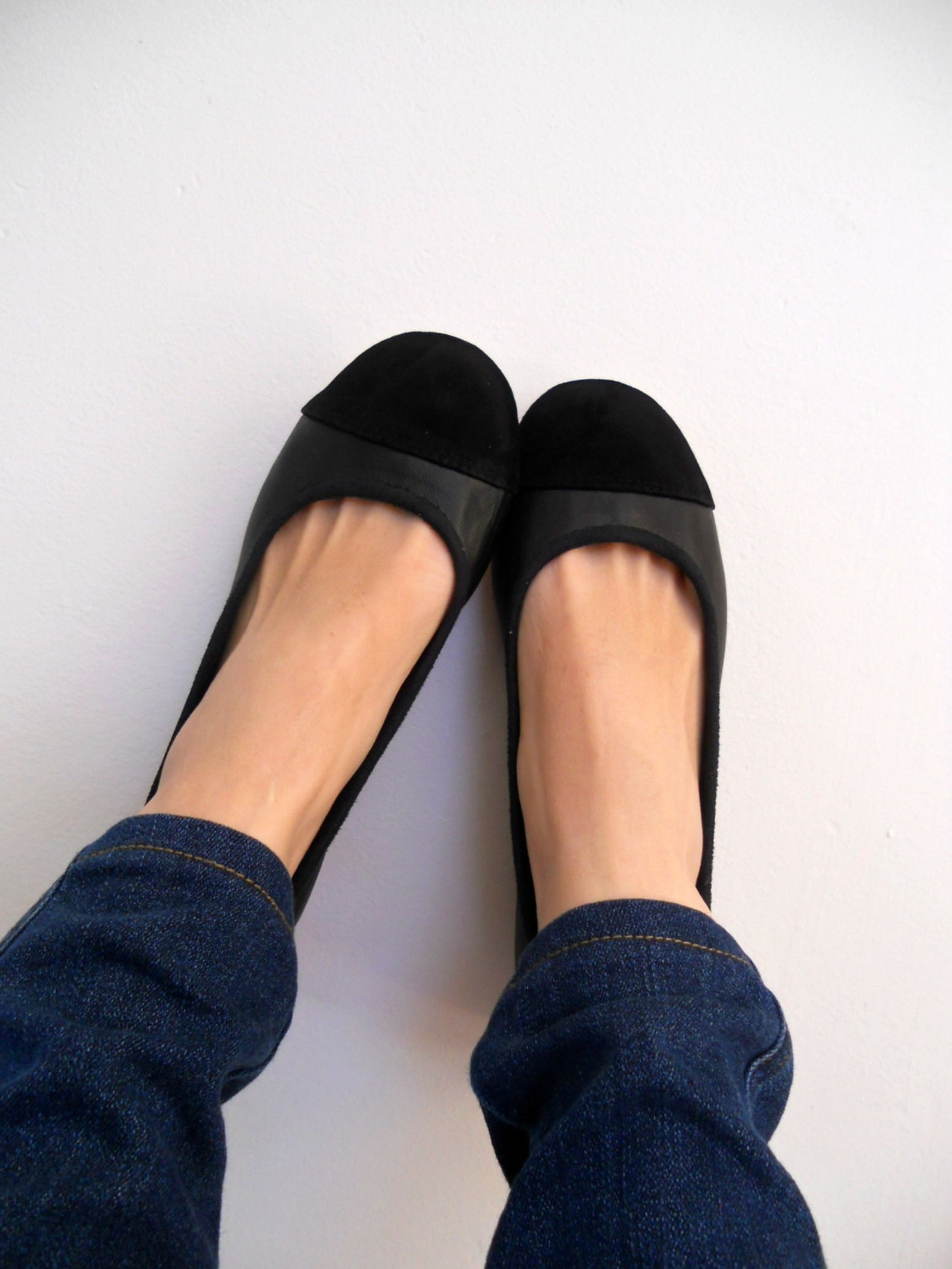 zoe. ballet flats/ women's leather shoes/ black leather suede flat shoes. available in different colours & sizes