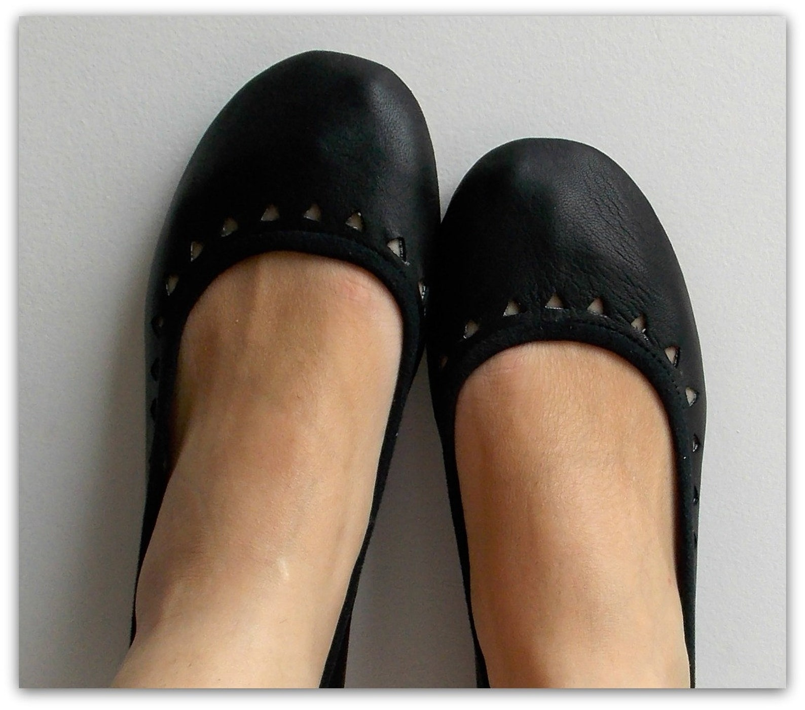 aztec. black leather ballet flats/ women's leather shoe/ cut-out flats- available to custom order only