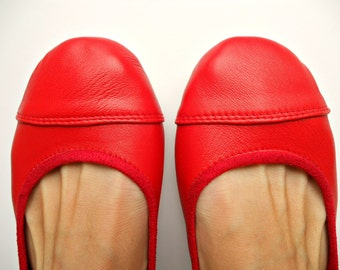 LUNAR- Ballet Flats - Leather Shoes - Cherry Red 38- Available in different colours & sizes see below