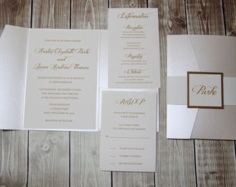 Opal Shimmer and Gold Pocketfold  Wedding Invitations - DEPOSIT to get started