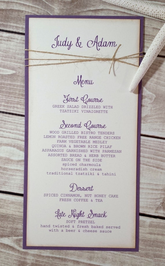 Plum Wedding Menus Purple Wedding Reception Decor Violet Etsy