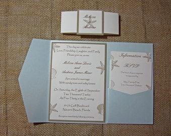 Blue Pocketfold Beach Wedding Invitations - Aqua Beach Wedding Invitation- Aquamarine Shimmer Invitation - DEPOSIT to get started
