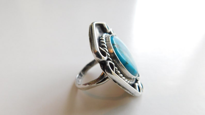 Vintage 1.25inch Mount Navajo Native American Indian Turquoise Ring Size 6 Southwest