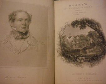 1856 Antique Victorian Thomas Moore Complete Poetical Works Illustrated by Landseer Engraving Leather Poetry