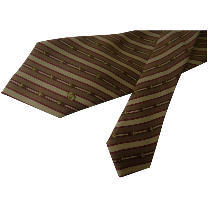 130084881 Gucci Made in Italy Pure Silk Tie Necktie Horse Stirrup   Etsy